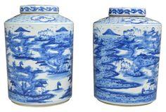 Ceram blue jar 11x14 sold $1295!! ... Blue & White Canton Jars, Pair