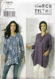 Vogue 9171 Designer Marcy Tilton High Fashion Big Top Size 4 6 8 10 12 14 Bust 29 30.5 31.5 32.5 34 36 2016 New* Sewing Pattern Free Us Ship by LanetzLiving on Etsy
