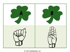 ASL alphabet St. Patrick's day free printable from Hear My Hands