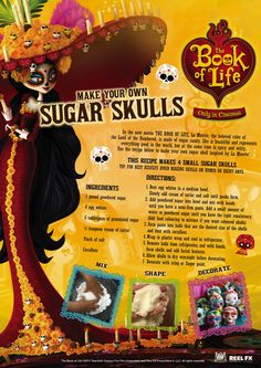 The BOOK OF LIFE World Market Exclusives & Sweepstakes #BookofLife @WorldMarket Sponsored  BOOK OF LIFE ACTIVITY SHEET  Sugar Skulls
