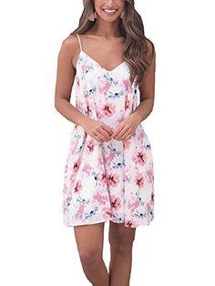 Summer Dress  $4.99 Hibluco Women's Summer V-Neck Spaghetti Strap Floral Mini Dress with Pockets (Small, White) Summer Spaghetti, Lily Collins, Fashion 2020, Rompers, V Neck, Lingerie, Pockets, Summer Dresses, Womens Fashion