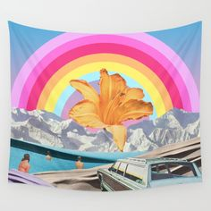 Summer Rainbow Wall Tapestry by Leafandpetal | Society6