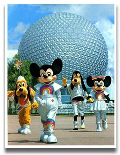 Disney characters dance (in front of Epcot Center in Orlando, Florida) Disney Parks, Walt Disney, Disney Pixar, Disney Characters, Disney Theme, Retro Disney, Disney Love, Disney Stuff, Disney Tips