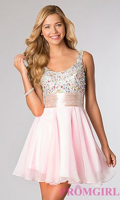 Alyce Short Sleeveless Jewel Embellished Party Dress at PromGirl.com