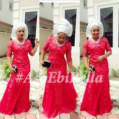 Nigerian wedding guest. Red Guipure lace Iro and Buba with Silver Gele.