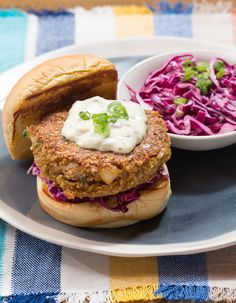 Recipe: Maryland-Style Cod Cake Sandwiches with Tartar Sauce & Red Cabbage Slaw - Blue Apron Cod Recipes, Fish Recipes, Easy Dinner Recipes, Seafood Recipes, Cabbage Recipes, Recipies, Cabbage Slaw, Red Cabbage, Seafood Dinner