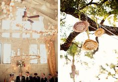 wooden hanging decor with fairy lights and hanging paper flowers Hanging Paper Flowers, Paper Flowers Wedding, White Wedding Flowers, Wedding Reception Table Decorations, Wedding Reception Signs, Wedding Ideas, Wedding Picture Walls, Circular Chandelier, Hanging Wedding Decorations