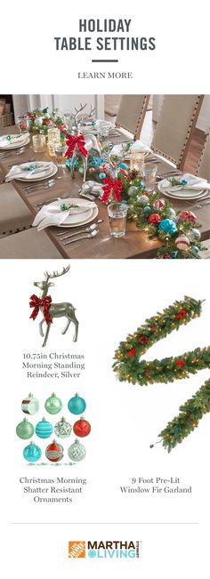 So many holiday parties to host, so many decorating ideas! Switch up the usual table decor of candles and flowers with pre-lit garland, colorful ornaments, and festive figurines. Shop this look from the Martha Stewart Living holiday collection, available exclusively at The Home Depot.