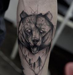 Black Ink Impressive Bear Head Tattoo Made On Sleeve