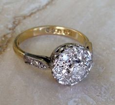Exquisite Antique 18k Diamond (9) Cluster Engagement or Right Hand Cocktail Ring Size 6.375 and Weighing 4.2 grams on Etsy, $337.00