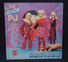 Live Action P J's Fashion `N Motion Gift Set 1971 Sears Exclusive Vintage Barbie Dolls, Mattel Barbie, Barbie And Ken, Buffy, Devon, Fashion Dolls, Fashion Outfits, Mod Fashion, Mint Dress