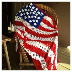 OLD GLORY Vintage PATRIOTIC Handmade American Flag Crocheted Afghan Throw Quilt. $124.00, via Etsy. Inspirational.