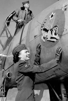 'Flying Tiger' Airman Bettye Krieter with Fourteenth Air Force A-26 and Pilot