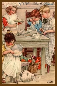 Quilt Block of 1925 painting of Children Cooking by Clara Miller Burd printed on cotton. Ready to sew.  Single 4x6 block $4.95. Set of 4 blocks with pattern $17.95.