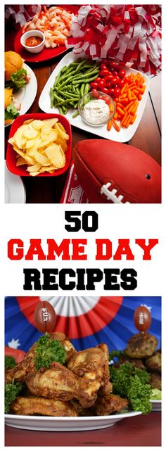 50 Game Day Recipes - Appetizers, Dips, Slow Cooker Recipes & More! Game Day Appetizers, Quick Appetizers, Game Day Snacks, Finger Food Appetizers, Game Day Food, Appetizer Recipes, Snack Recipes, Finger Foods, Sunday Recipes