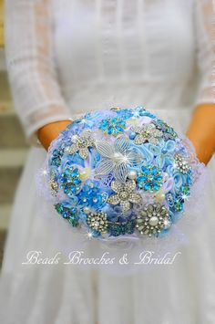 Blue Bouquet, Set of Wedding Bouquet and 6 Boutonieers, Blue Brooch Flower bouquet with Boutonieers, Brial Blue Bouquet--Readyto-ship