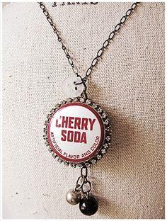 cherry soda bottle cap necklace