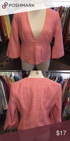 """East 5th Ladies orange/coral tweed blazer Brand New East 5th Ladies blazer. Color is orange/coral tweed, 3/4 sleeve, fabric: 59% cotton/24% polyester/17% rayon with 100% polyester lining, size is medium, measures approx. 16"""" from one underarm to the next, and is approx. 20"""" from the shoulder to the bottom hem. East 5th Jackets & Coats Blazers"""