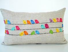 Birds Raw Linen Pillow