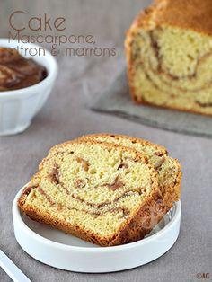Cake au mascarpone, zestes de citron & marbré à la crème de marrons -