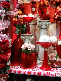 Some cool red containers, perfect for a Valentine's Day centerpiece