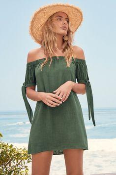 Positano Outfits Amalfi Coast Cute Dresses Al Fresco Evenings Olive Green Off The Shoulder Dress Lulus Cute Casual Outfits, Cute Summer Outfits, Spring Outfits, Casual Dresses, Girl Outfits, Fashion Outfits, Cute Vacation Outfits, Spring Dresses, 80s Fashion