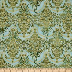Holiday Flourish Metallic Damask Pine Blue from @fabricdotcom  Designed by Peggy Toole for Robert Kaufman, this cotton print fabric is perfect for quilting, apparel and home decor accents. Colors include blue and green. Features gold metallic accents throughout.