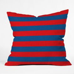 Holli Zollinger Rugby Stripe Throw Pillow #stripes #navy