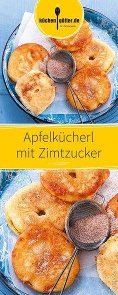 Apfelkücherl with cinnamon sugar - Backen - Bolo Pastry Recipes, Cake Recipes, Snack Recipes, Dessert Recipes, Dinner Recipes, Breakfast Desayunos, Breakfast Recipes, Dessert Parfait, Ice Cream Recipes