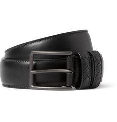 Bottega VenetaBlack 3.5cm Intrecciato-Trimmed Leather Belt