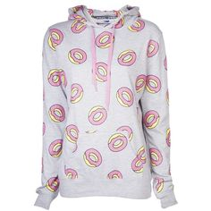ODD FUTURE donut pattern hoodie ($110) ❤ liked on Polyvore featuring tops, hoodies, sweaters, jackets cardigans & coats, shirts, shirt hoodie, long sleeve hoodie, long sleeve shirt hoodie, heather grey shirt and print long sleeve shirt