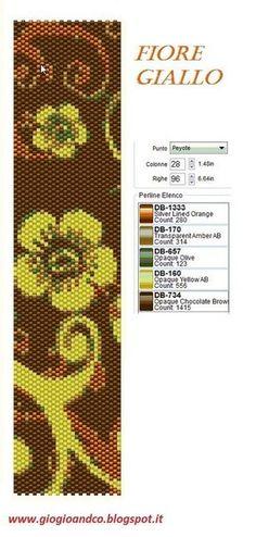 93 flower brown yellow peyote bracelet pattern