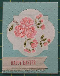 "handcrafted Easter card from Stampin' on the Prairie ... luv the coloring for the apple blossoms of Indescribable Gift ... window die cut label on card front frams the flowers ... luv how se stamped ""Happy Easter"" oon the cotton ribbon ... Stampin' Up!"