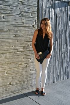 black drape top| white pants | fishbowl fashion