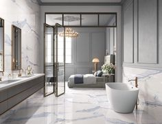 Large tiles in a bathroom completely change the space! Check out some of our large tiles for your next bathroom remodel! The Milan 24x48 Polished Porcelain Tile in Atlantic Blue creates a dreamy atmosphere with its unique veining and coloring. It retails starting at $6.99 SQ FT.