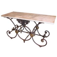 Fabulous & Large Butcher Table with Marble Top
