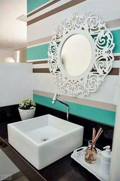teal Bathroom Decor Striped walls for bathroom Natural Home Decor, Unique Home Decor, Cheap Home Decor, Diy Home Decor, Trough Sink Bathroom, Teal Bathroom Decor, Colorful Bathroom, Bathroom Ideas, 3d Cnc