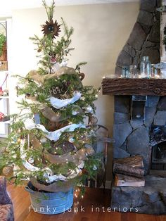 Small Rustic Christmas tree... small is good with a toddler in the house!