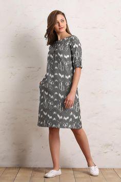 Grey Ikat Dress - Dresses - Clothing Floral Pumps, Western Dresses, Kurtis, Ikat, Dream Catcher, Pattern Design, Ethnic, Floral Prints, Clothes For Women