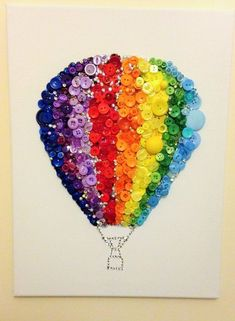 Enjoy the handmade artwork of the Rainbow Button Swarovski Crystal Hot Air Balloon. The stretched canvas is made from 100 % pure Rainbow Art, Rainbow Colors, Rainbow Stuff, Rainbow Crafts, Color Wheel Projects, Cadre Diy, Color Wheel Art, 100 Day Of School Project, Button Picture