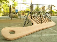 Wooden Comb bike rack made by the Knowhow Shop LA co-op as a public art installation for the city of Roanoke, Virginia. It weighs 400 pounds! Rack Velo, Bicycle Rack, Bicycle Stand, Bike Stands, Urban Furniture, Street Furniture, Furniture Ideas, City Furniture, Concrete Furniture