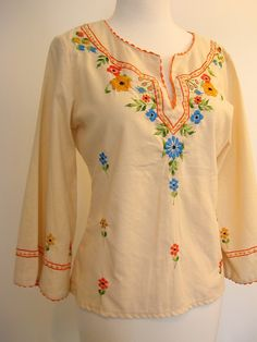 Hippies Clothing in the 60s | 60s Hippie Shirt Peasant Blouse 1960s Boho Top Linen Gisela SM MED