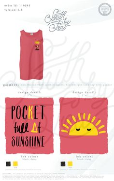 Kappa Delta | KD | Pocket Full of Sunshine | Sisterhood | Bid Day | Recruitment | South by Sea | Greek Tee Shirts | Greek Tank Tops | Custom Apparel Design | Custom Greek Apparel | Sorority Tee Shirts | Sorority Tanks | Sorority Shirt Designs