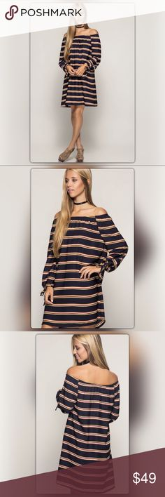Navy Striped Off the Shoulder Shift Dress Modern twist on a classic striped dress! Stripes never go out of style and this dress is proof. This navy off-the-shoulder dress has ties at the sleeves. It is made of 70% cotton and 30% polyester. It is fully lined. The NEW Boutique Dresses