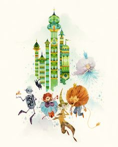 Green Towers by Lorena Alvarez Gómez, via Behance wizard of Oz art Art And Illustration, Illustrations Posters, Jm Barrie, Pot Pourri, Fantastic Art, Wizard Of Oz, Graphic, Book Art, Drawing People
