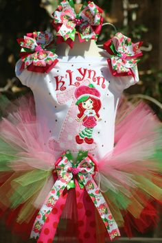 Personalized Strawberry birthday tutu with bling and bows. $65.00, via Etsy.
