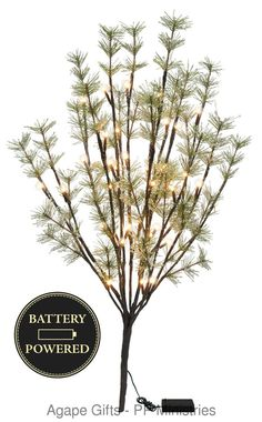 """PBK Battery Operated Lighted Icy Pine Twig  40 LED 20"""" tall  - Christmas Decor #PrimitivesByKathy"""