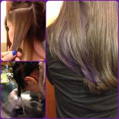 Dyed my hair dark brown, and added a purple peekaboo highlight. http://sparkscolor.com #purple#diy#hair#color