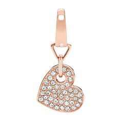 Fossil Charm Edelstahl Glassteine JF02291791 https://www.thejewellershop.com/ #fossil #charm #anhänger #steel #zirkonia #roségold #herz #charms #jewelry #schmuck #heart