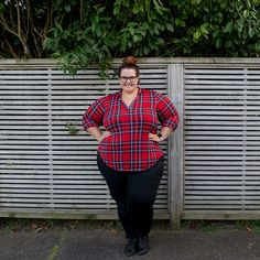 e79c4fa51b36 New Zealand plus size fashion blogger Meagan Kerr wears Society Plus Loey  Lane plaid top